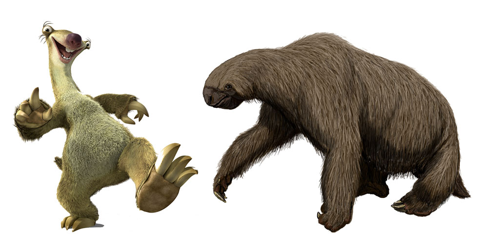 Sid from Ice Age is a prehistoric ground sloth called a Megalonyx