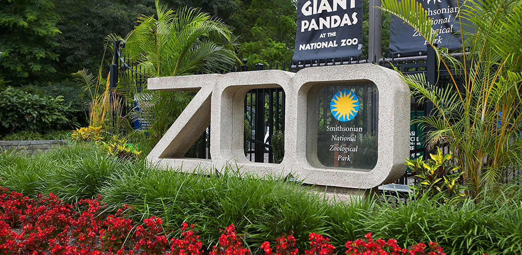 Entrance to the Smithsonian National Zoological Park or National Zoo in D.C.